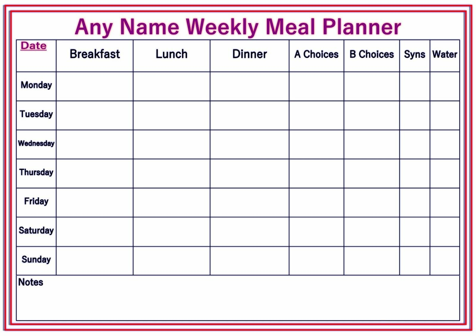 Personalised A4 Weekly Reusable Diet Weight Loss Chart Planner