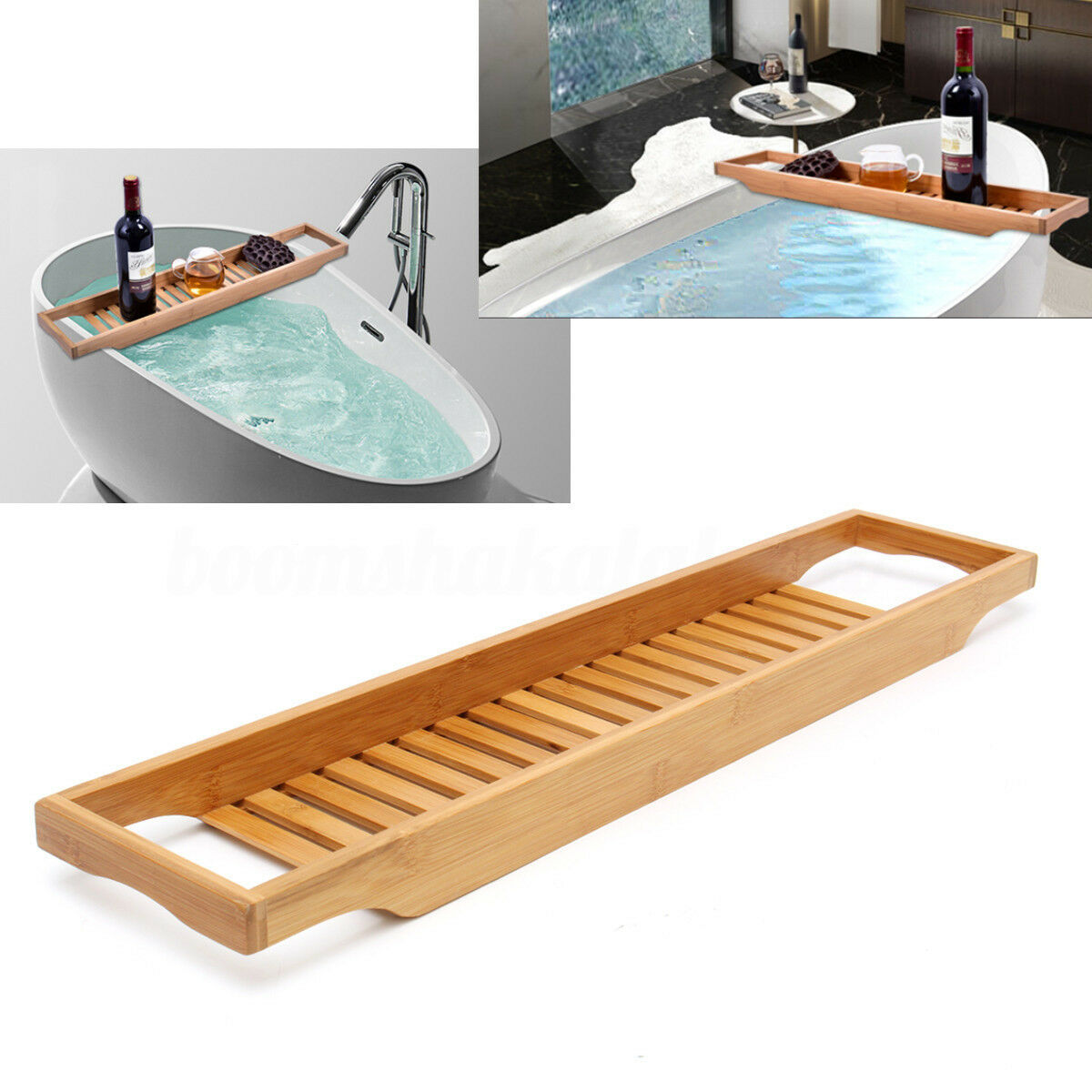 Bathroom Bamboo Bath Shelf Caddy Wine Holder Tray Bathtub