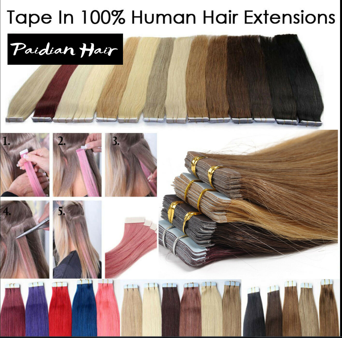 161820222426inch 100 Remy Hair Pu Tape In Human Hair