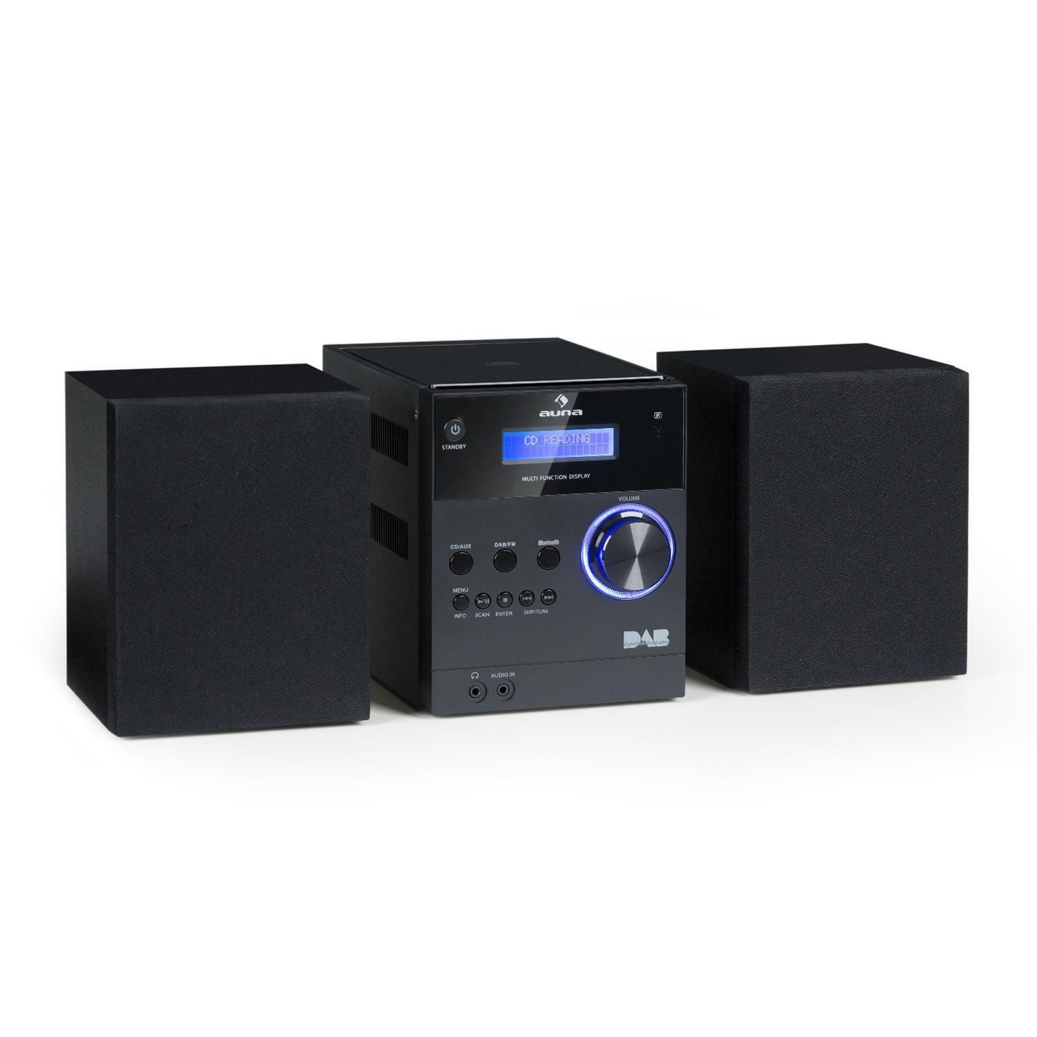 bluetooth stereo system cd mp3 player dab fm radio lcd 2 x. Black Bedroom Furniture Sets. Home Design Ideas