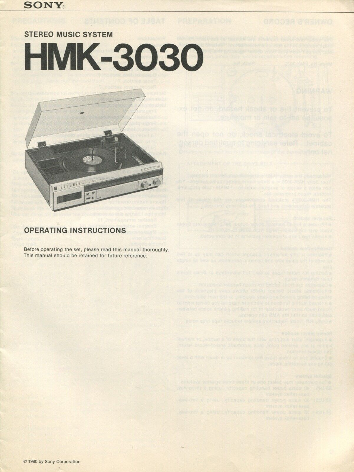 Sony HMK-3030 Original Stereo Music System Owners Manual 1 of 2Only 1  available ...