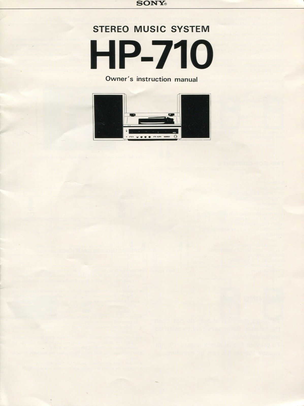 Sony HP-710 Original Stereo Music System Owners Manual 1 of 2Only 1  available ...