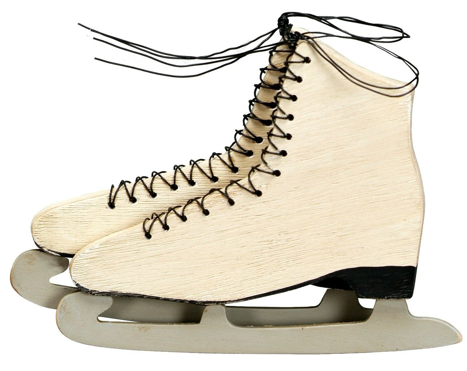PRIMITIVE/VINTAGE LOOK PAIR of Wooden Ice Skates Ornament Christmas ...