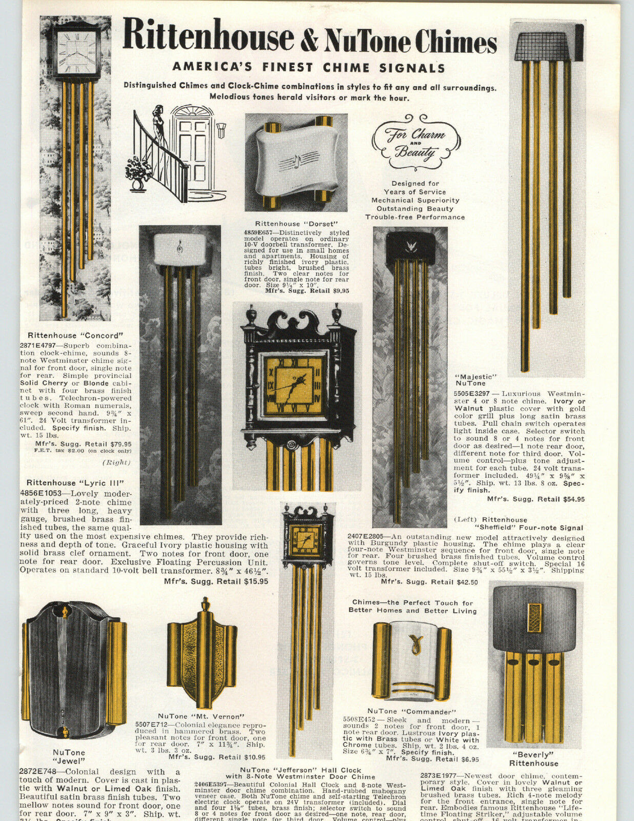 1955 PAPER AD Rittenhouse NuTone Door Bell Chimes Majestic Concord  Jefferson 1 Of 1Only 1 Available See More