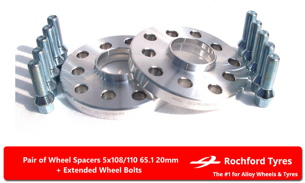 ALLOY WHEEL SPACERS 20mm X 2 M14X1.5 BOLTS FOR 5X110 65.1 ALFA ROMEO