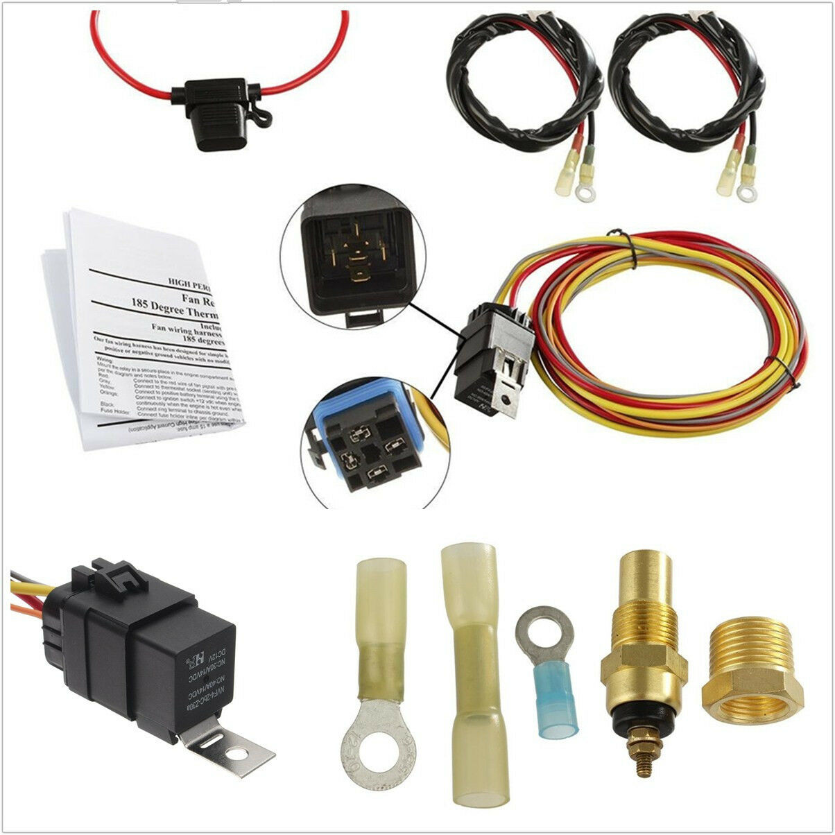 Universal 12v Car Offroad Dual Electric Cooling Fan Wiring Harness Kits Kit 40a Relay 1 Of 12free Shipping See More