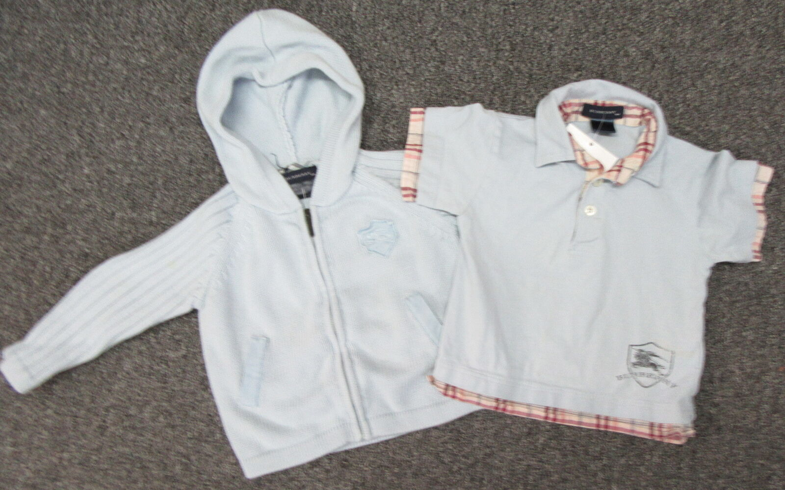 BURBERRY LOT OF 2 infant Lt blue polo shirt and cotton hooded ... 893510fde8a0