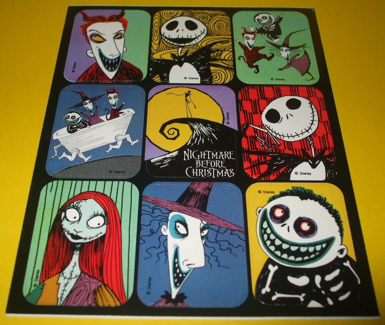 DISNEY STICKER SHEET~NIGHTMARE BEFORE CHRiSTMAS~Tim Burton~Halloween ...