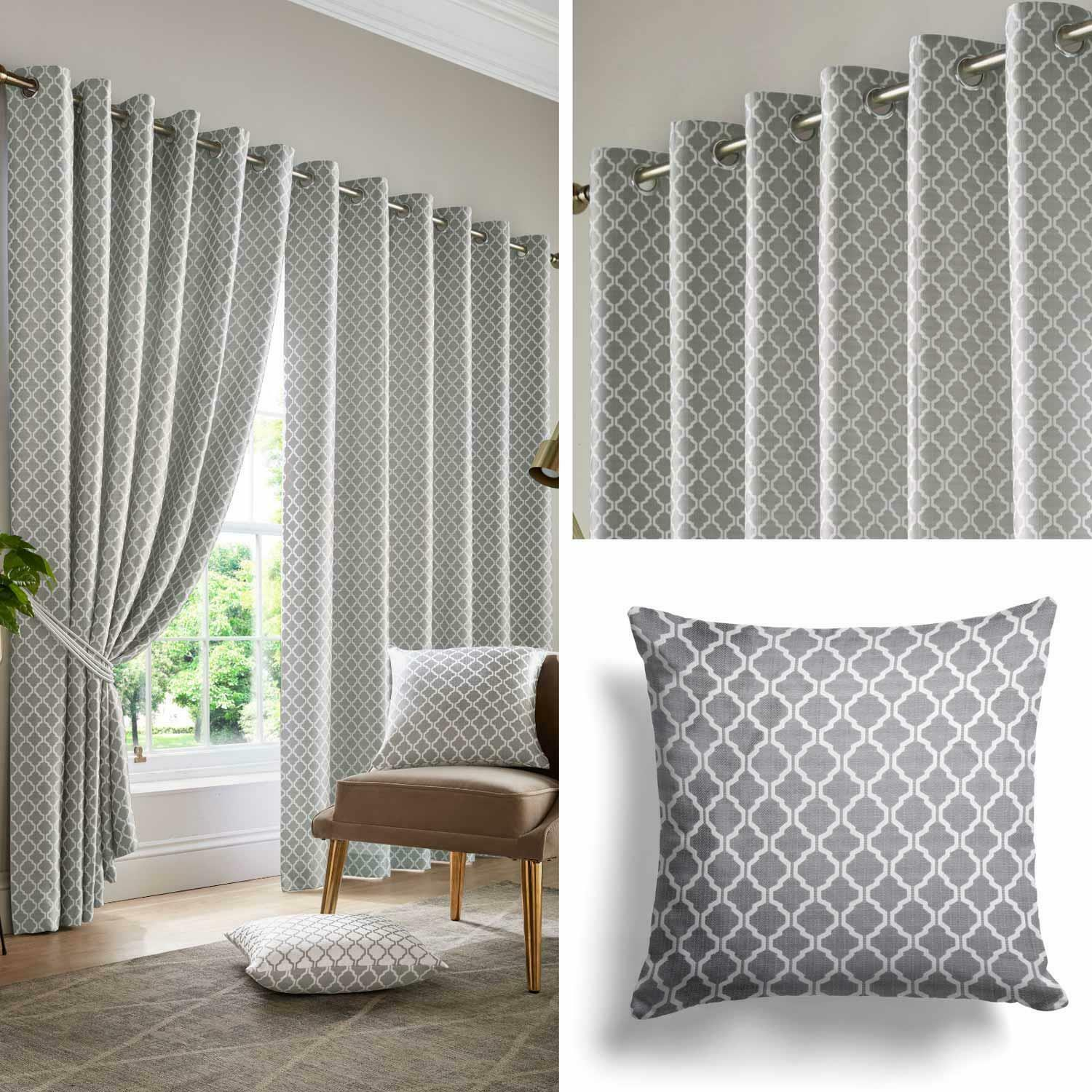 Grey Cotswold Lined Eyelet Curtains Luxury Ready Made Jacquard Ring Top Pairs 1 Of 6free Shipping See More