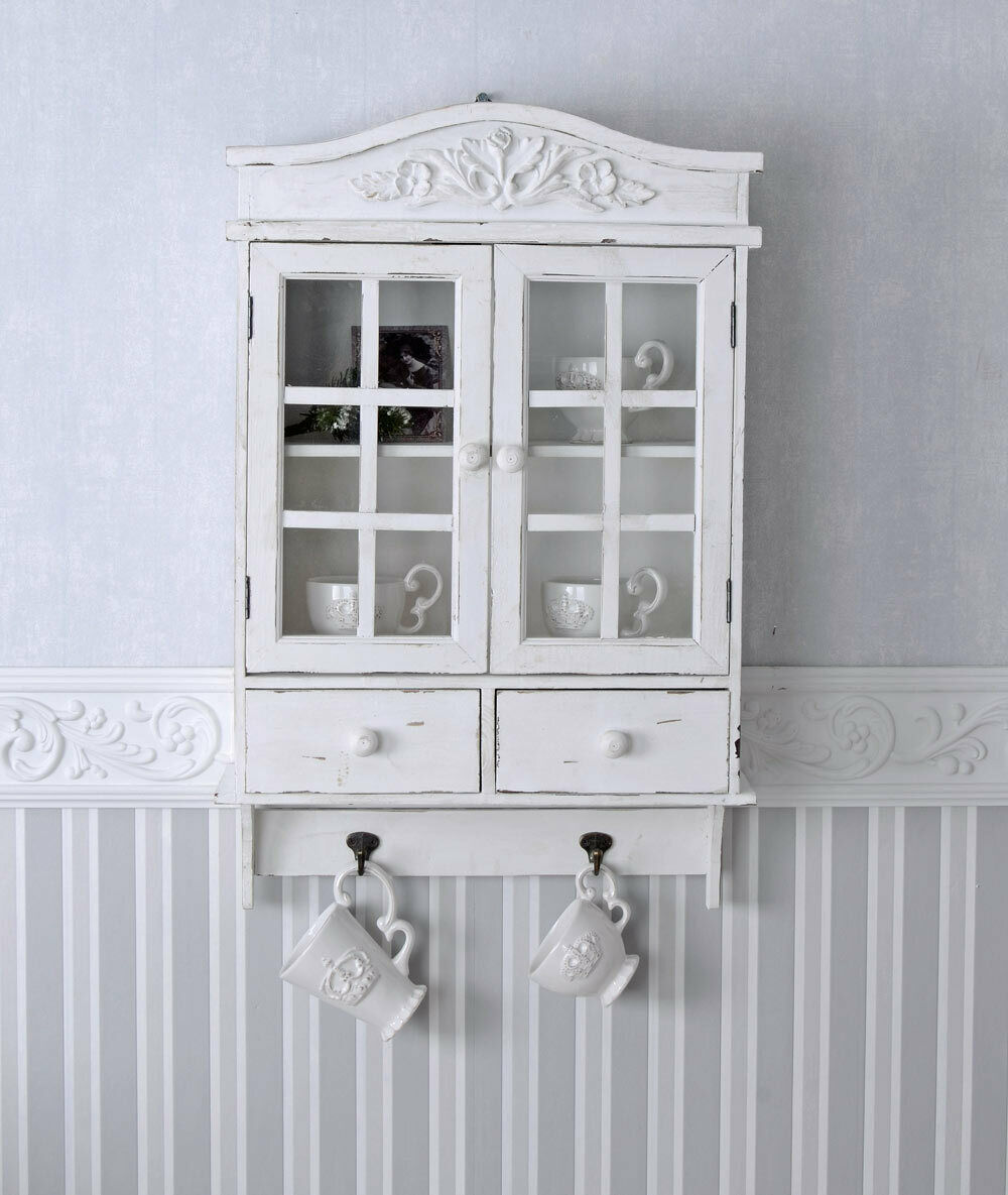 vintage h ngeschrank weiss schrank shabby chic h ngevitrine wandschrank holz neu eur 69 99. Black Bedroom Furniture Sets. Home Design Ideas