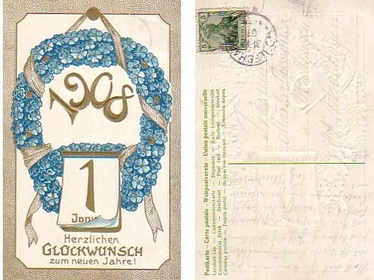 old embossed new year card for year 1908 germany 1 of 1only 1 available