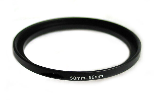 Step-up adapter ring 58-62 58mm-62mm Anodized Black NEW