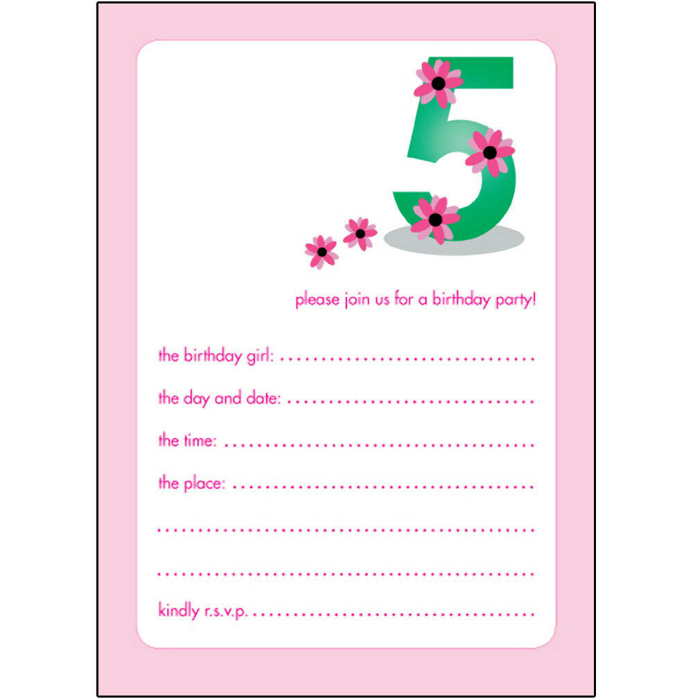 10 CHILDRENS BIRTHDAY Party Invitations, 5 Years Old Girl - NICE ...