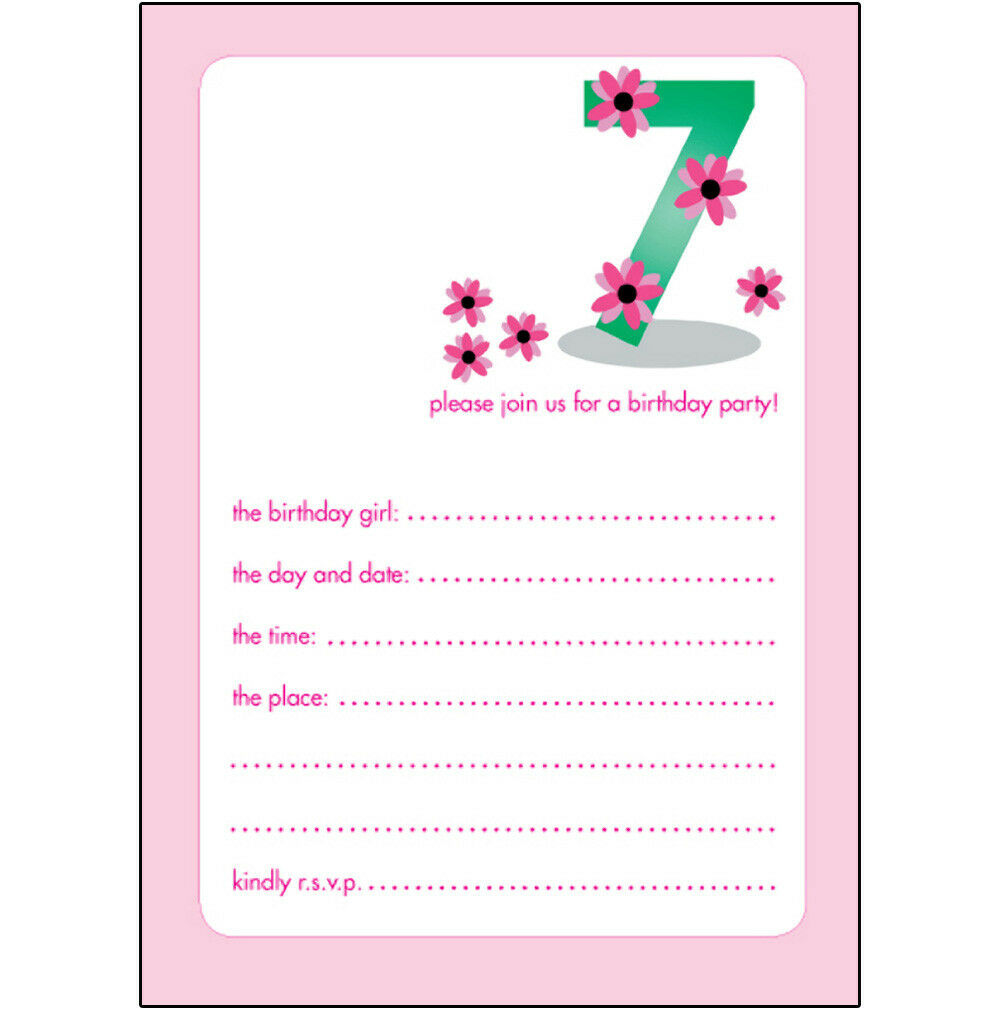 10 Childrens Birthday Party Invitations, 7 Years Old Girl  NICE!  BPIF-20 Pink