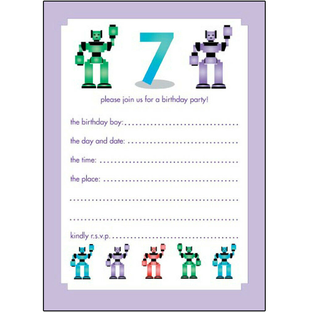 10 Childrens Birthday Party Invitations 7 Years Old Boy