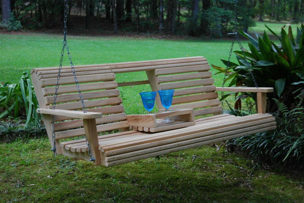 Wood Wooden Bench Porch Swing 5ft Cypress Flip Down Console Cup Holder Made Usa Picclick