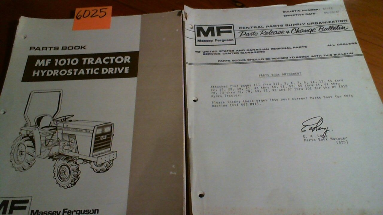 Massey Ferguson MF 1010 MF1010 Tractor Hydrostatic Drive Parts Book Manual  + 1 of 11Only 1 available ...