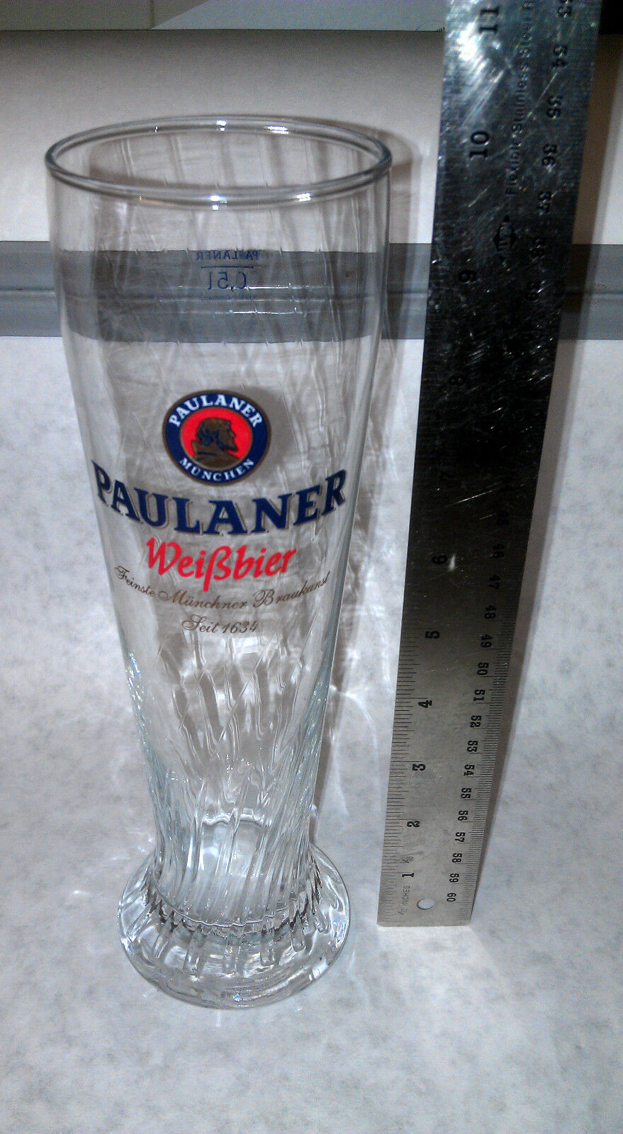 paulaner munchen beer glass 5l tall fluted beer glass new seit 1634 weissbier picclick. Black Bedroom Furniture Sets. Home Design Ideas