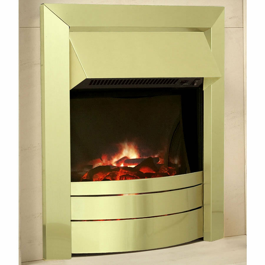 Celsi Electric Fire Lcd Essence Flame Effect Sound 2 Heat Settings Brass