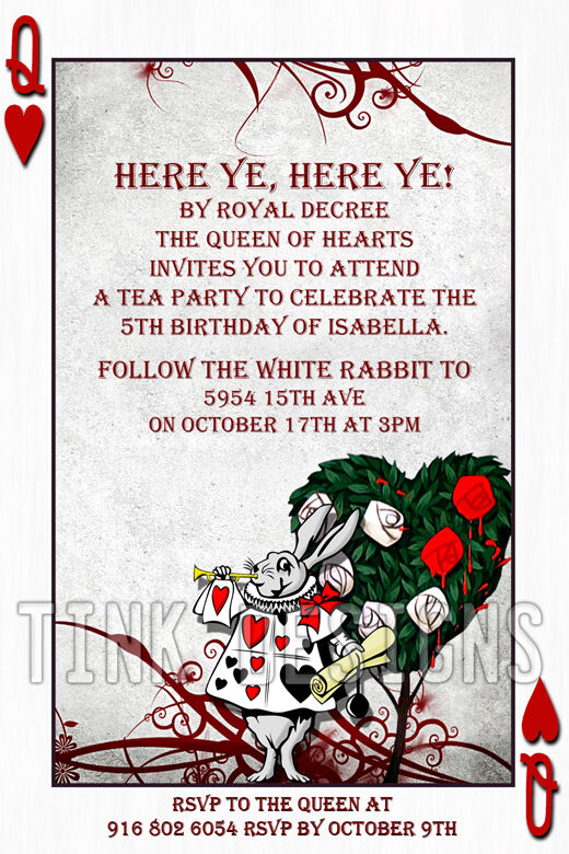 alice in wonderland birthday invites image collections coloring
