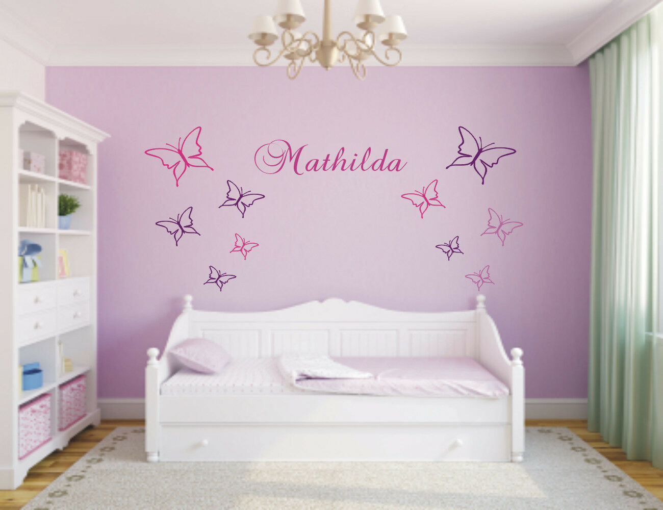 wandtattoo 10 schmetterlinge mit namen wunschnamen kinderzimmer 2 farbig. Black Bedroom Furniture Sets. Home Design Ideas