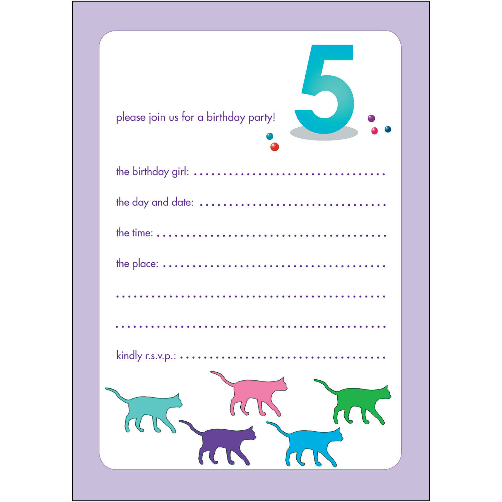 10 CHILDRENS BIRTHDAY Party Invitations 5 Years Old Girl - BPIF-51 ...