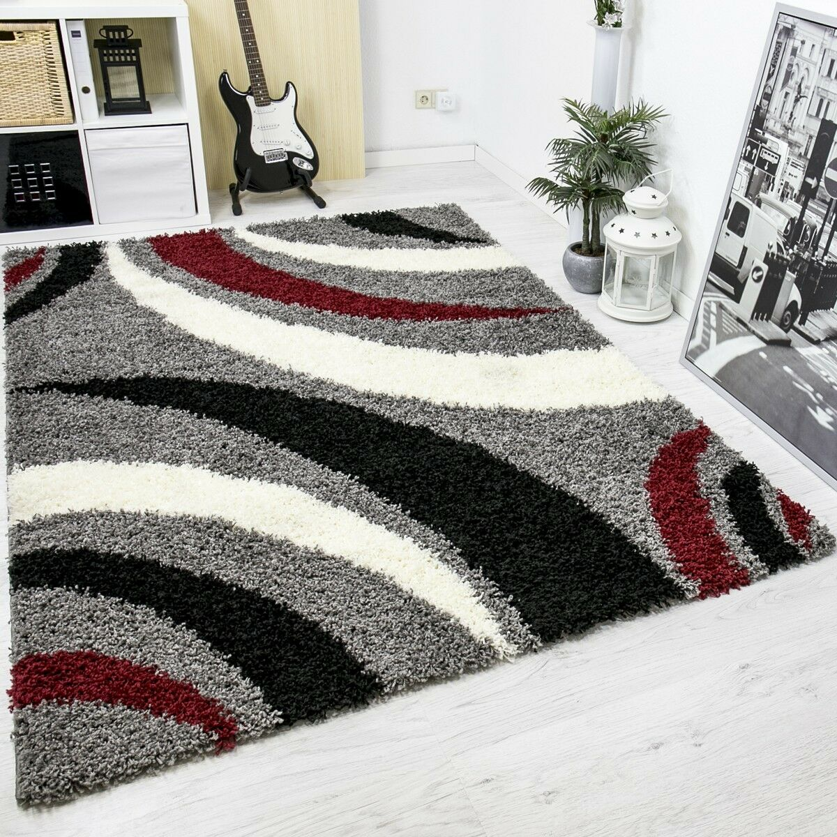 moderner hochflor shaggy designer teppich carpet grau. Black Bedroom Furniture Sets. Home Design Ideas