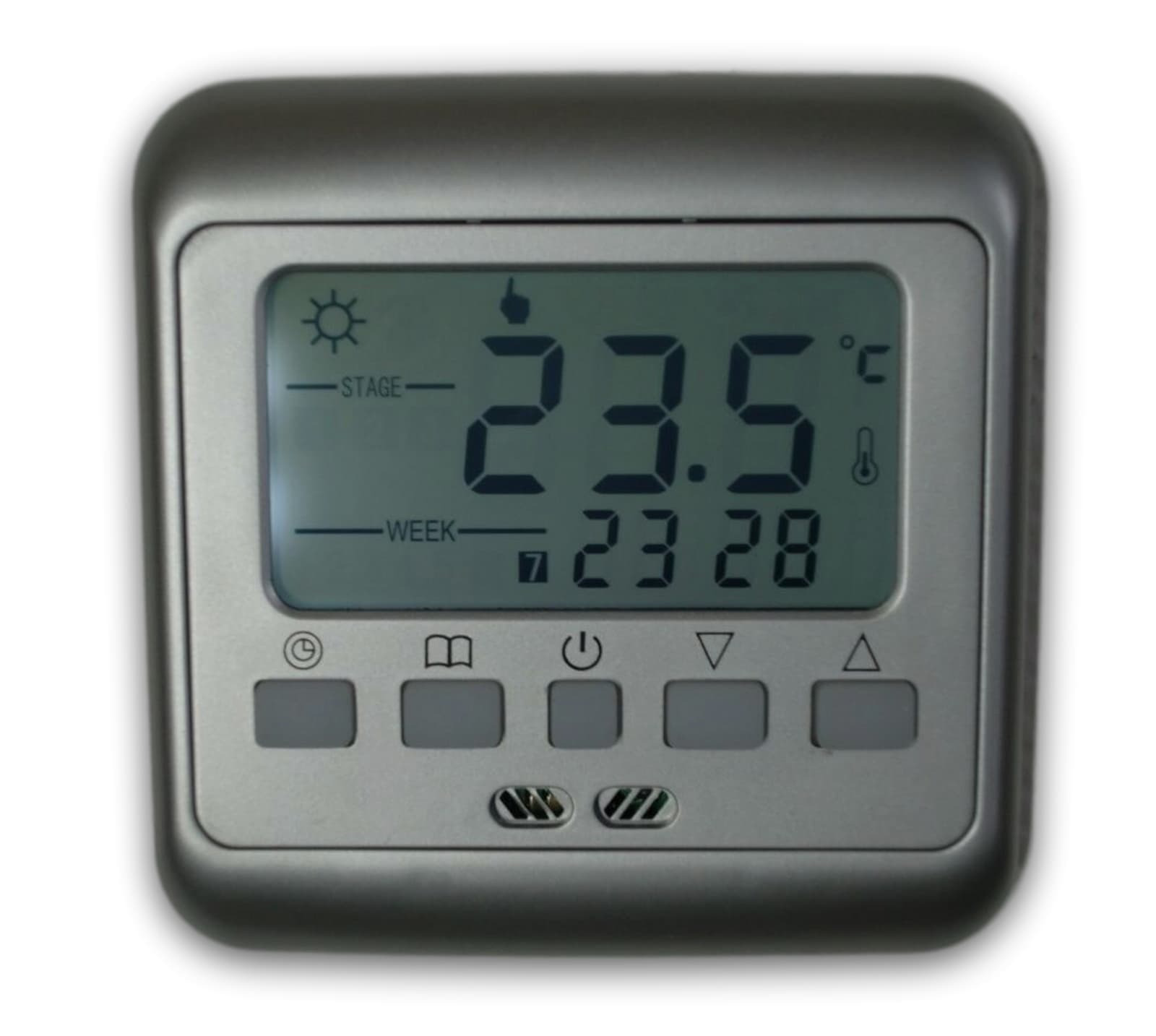 digital thermostat silber raumthermostat fu bodenheizung wochenprogramm z860 eur 16 99. Black Bedroom Furniture Sets. Home Design Ideas