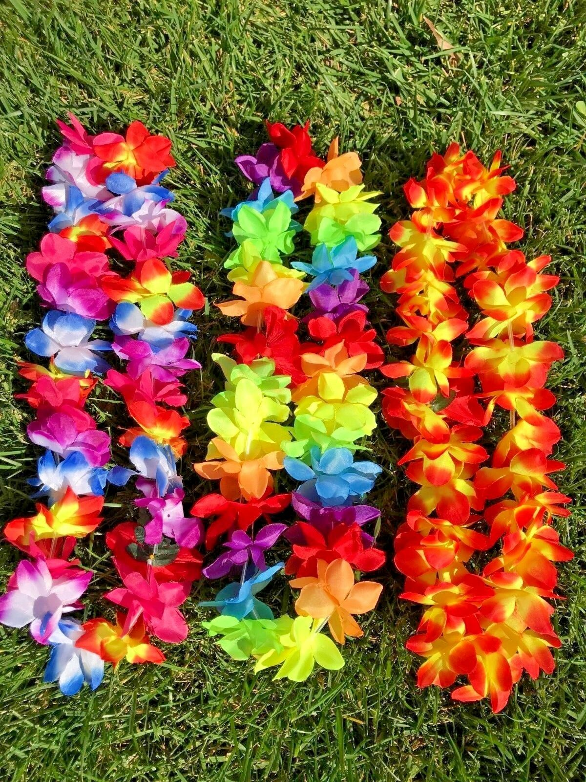 New Hawaiian Silk Flower Lei Hawaii Luau Party Favors Hula Necklace