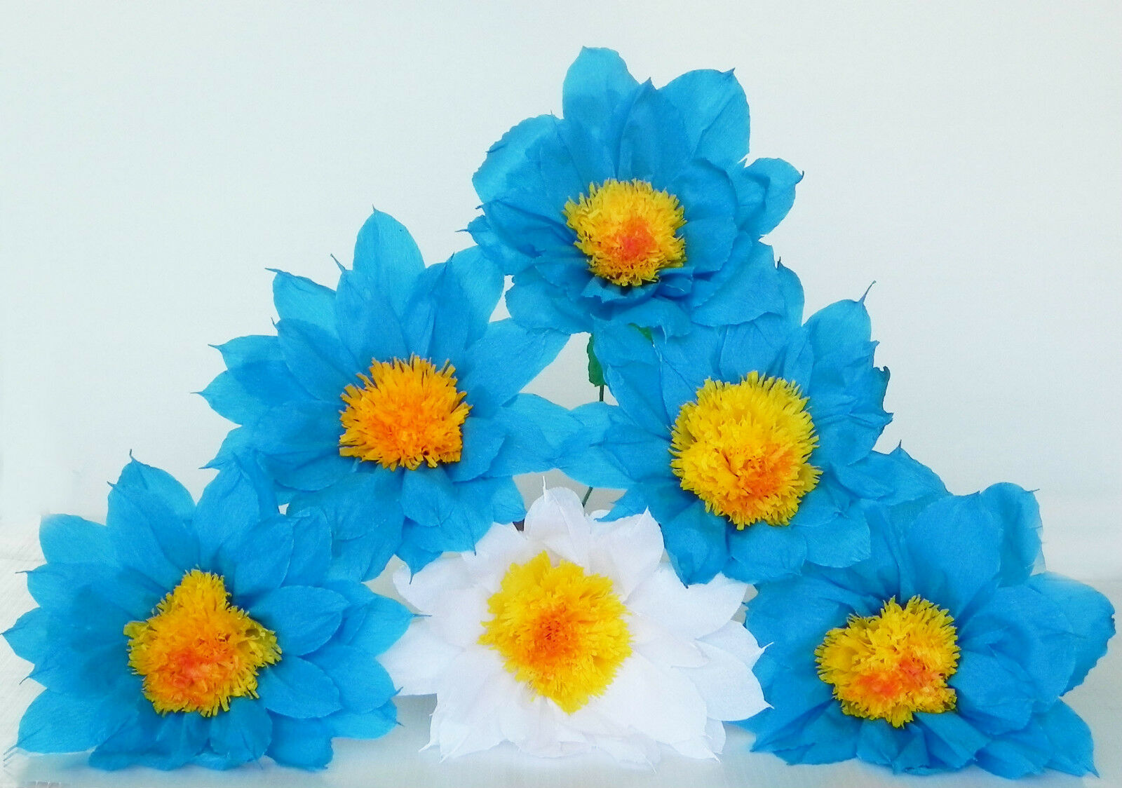 """Mexican Crepe Paper Flowers Set of 6 Blue White Daisy""""We Make Special"""