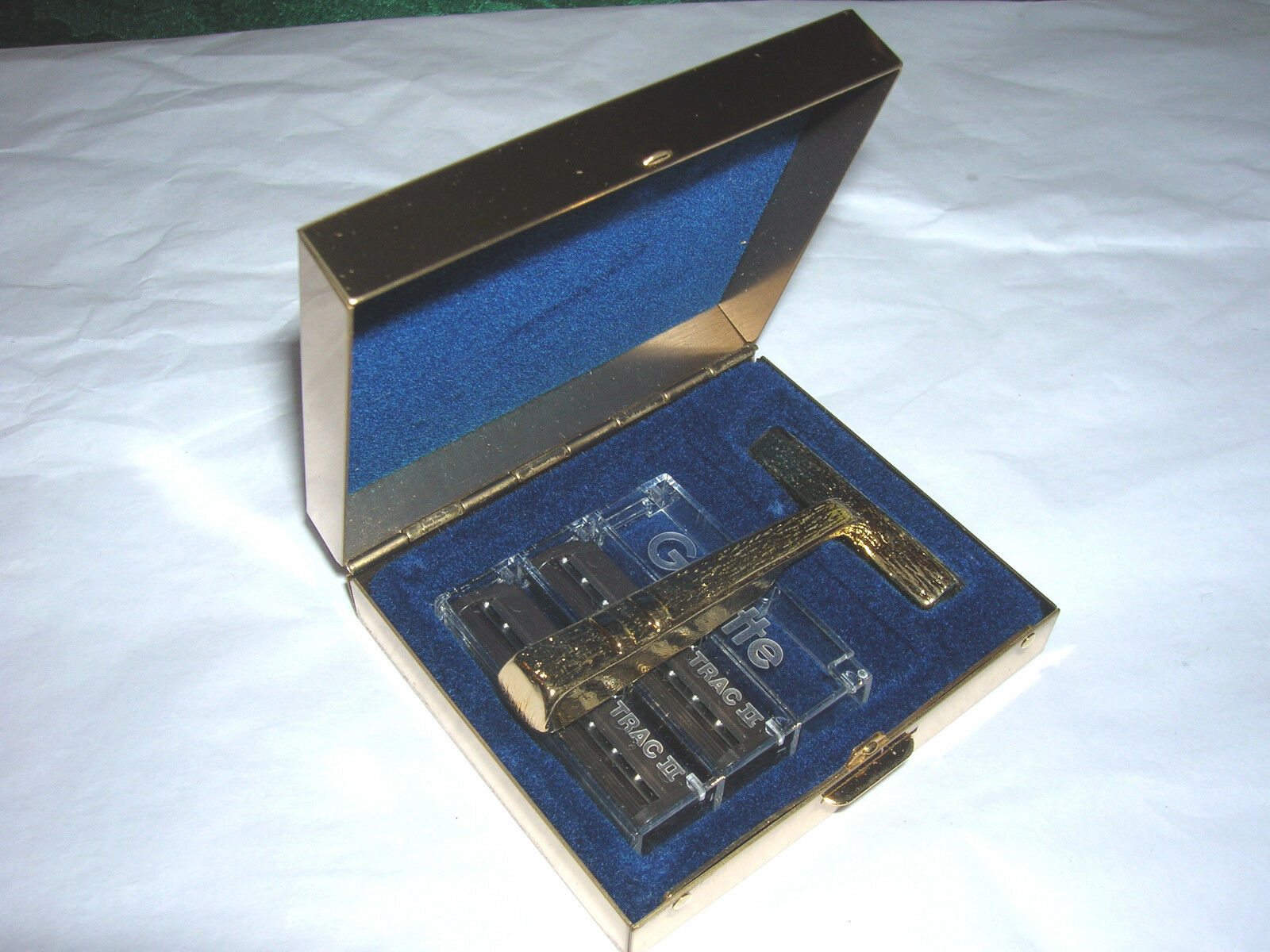 Vintage Travel Razor with Gillette Blades, Solid Brass Box Never Used! NIB