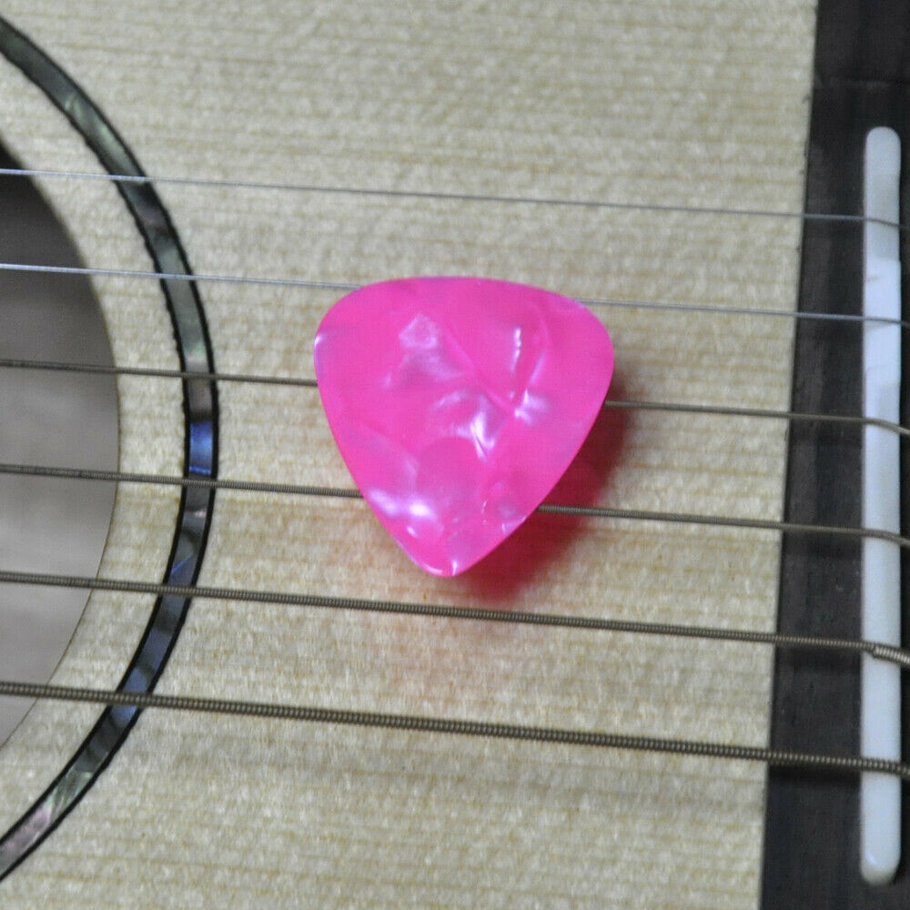 100pcs Thin 046mm Blank Guitar Picks Celluloid For Acoustic Pearl Pink