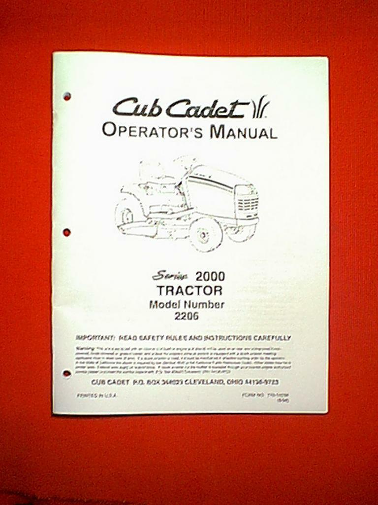 Cub Cadet Series 2000 Tractor Model # 2206 Owner's Manual 1 of 1Only 1  available ...