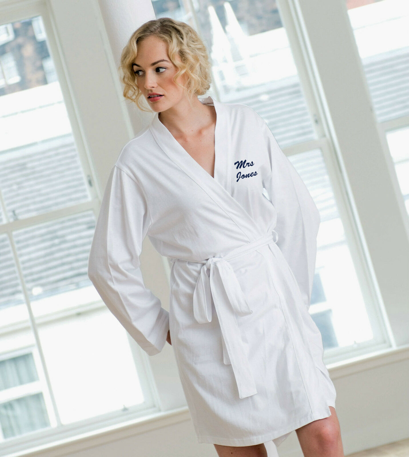 LADIES COTTON JERSEY Dressing Gown Robe for Hen Nights, Wedding ...