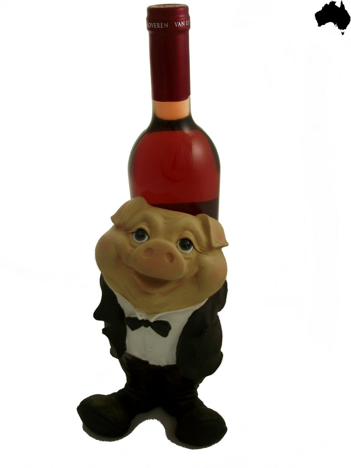 Wine Bottle Holder Pig Suit Waiter 23cm Bar Kitchen Table Gift Xmas Novelty Idea