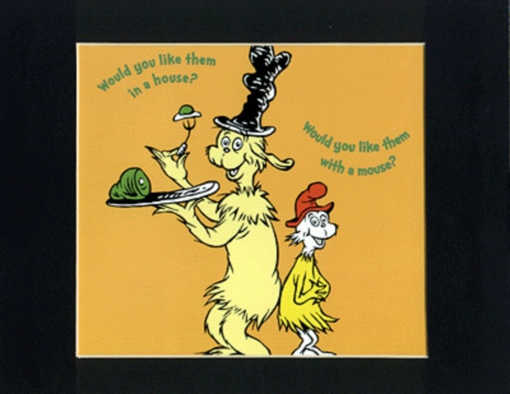 DR. SEUSS~GREEN EGGS & HAM~8 X 10 Mat Print~IN A HOUSE WITH A MOUSE ...