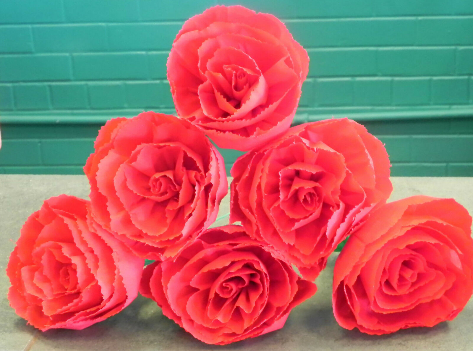 Mexican Crepe Paper Flowers Set Of 6 Red Roses By Julia Party