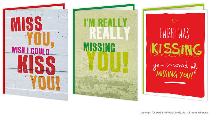 Missing you thinking of you kiss you greeting cards brainbox candy missing you thinking of you kiss you greeting cards brainbox candy funny humour 1 of 1free shipping m4hsunfo