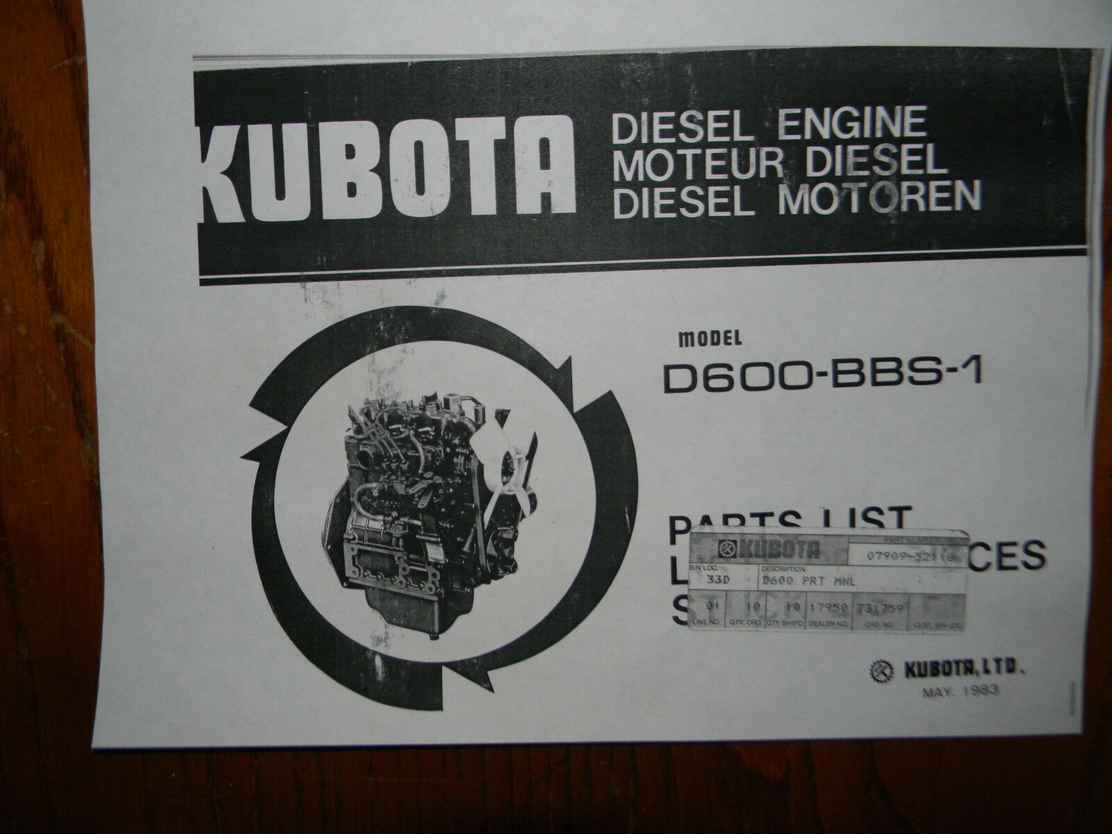 Kubota D600 diesel engine parts book 1 of 1Only 1 available ...