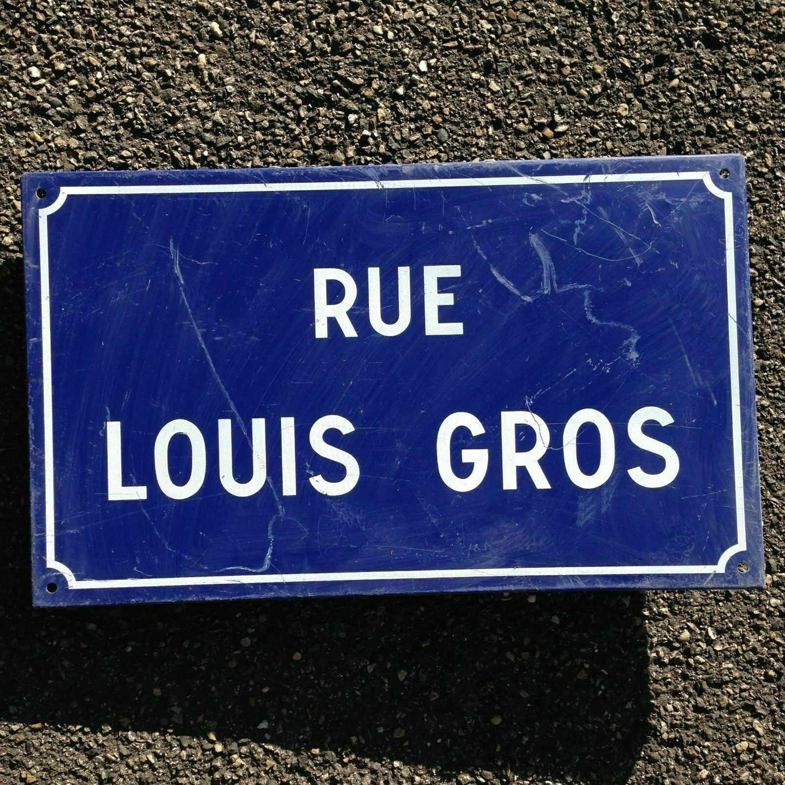French Street Enamel Sign Plaque - RARE FROM AVIGNON metal Louis Gros