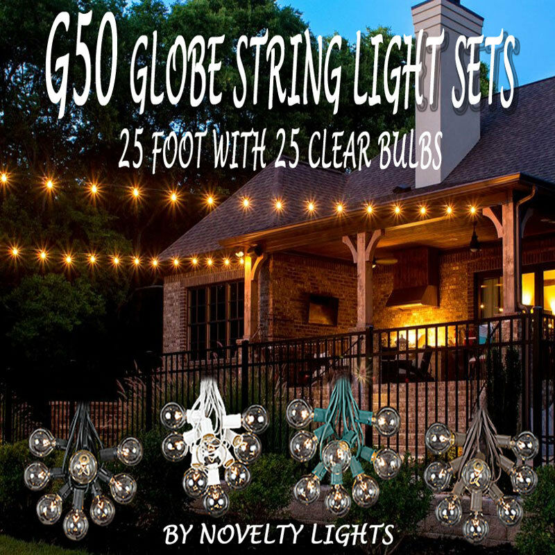 25 Foot G50 Outdoor Patio Globe String Lights   Set Of 25 G50 Clear Bulbs 1  Of 7FREE Shipping 25 Foot G50 Outdoor Patio Globe String Lights ...