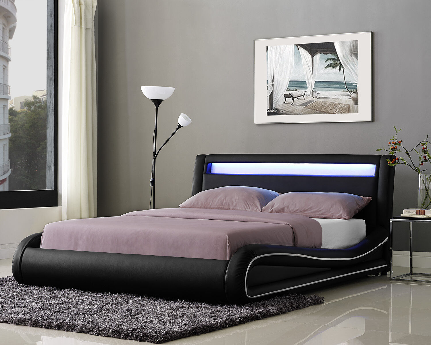 LED Double Bed Frame Or King Size Faux Leather Headboard And