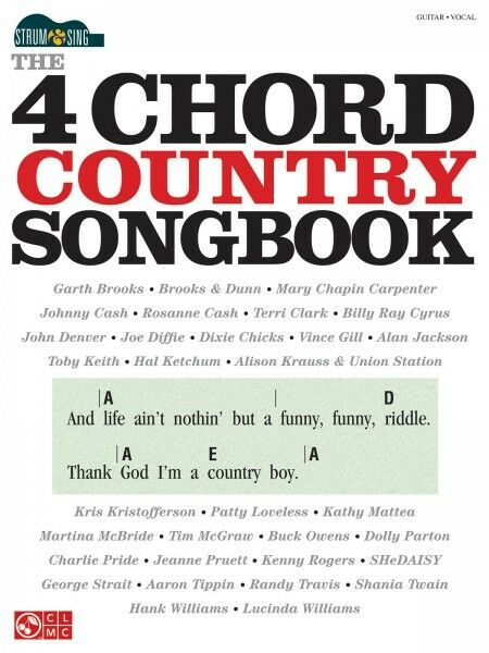 THE 4-CHORD COUNTRY Songbook Strum & Sing Sheet Music Easy Guitar ...