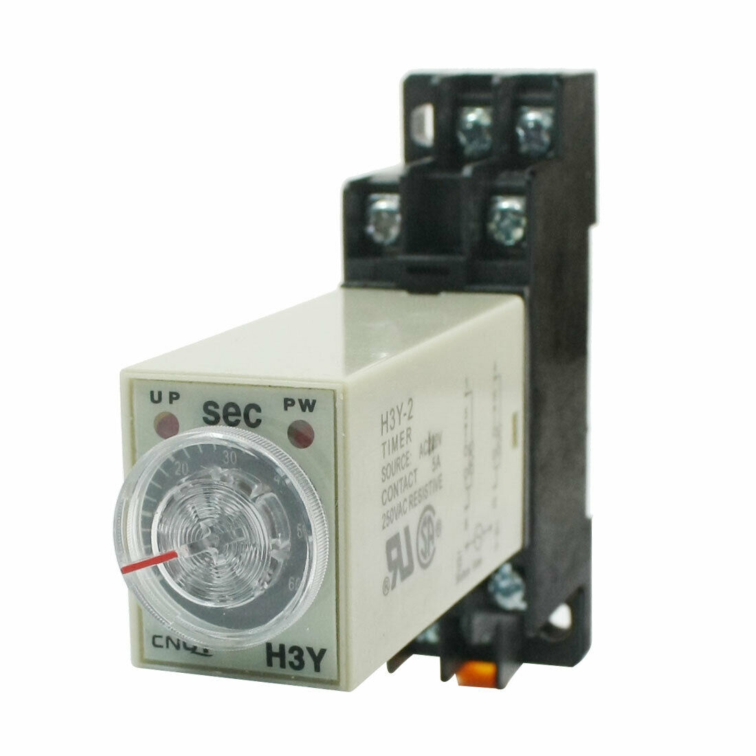 0-60 SECONDS DELAY Timer Time Timing Relay AC 110V H3Y-2 w Base ...