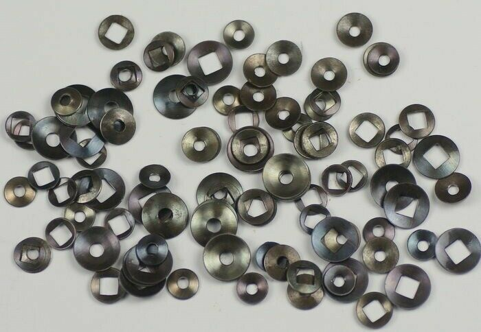 100 domed clock washers round & square hole clockmakers movements parts repairs