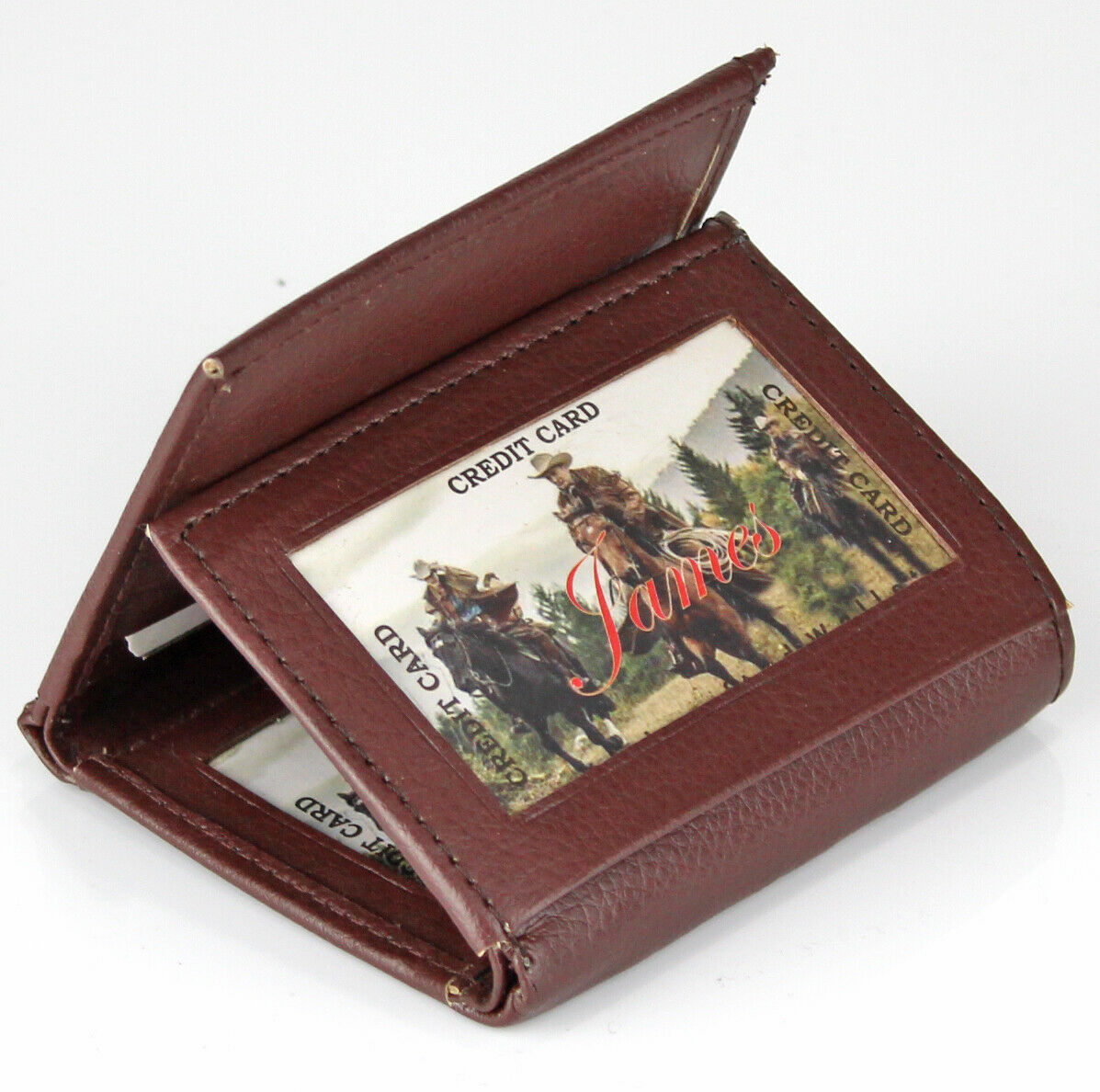 new mens leather trifold brown wallet credit card window id holder