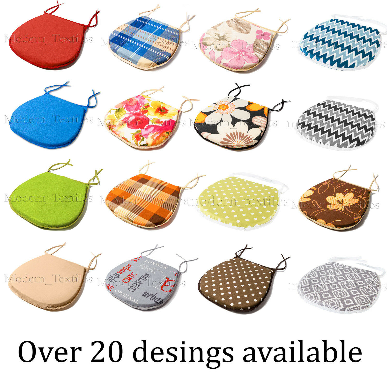 COMFORTABLE Chair Cushion Seat Pads TIE ON Garden Dining Table Kitchen MODERN!!! u2022 u00a34.19 ...