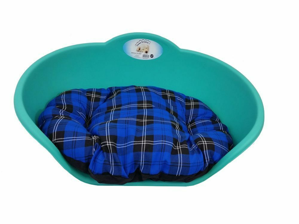 Heavy Duty TEAL GREEN Pet Bed With BLUE TARTAN Cushion UK MADE Dog Cat Basket