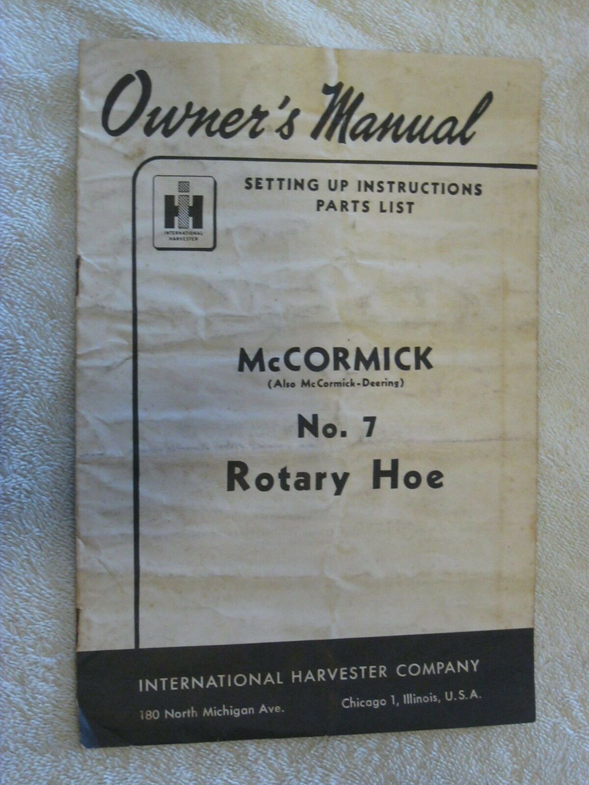 1938 IH McCORMICK, DEERING No.7 ROTARY HOE OWNERS-PARTS MANUAL 1 of 1Only 1  available ...
