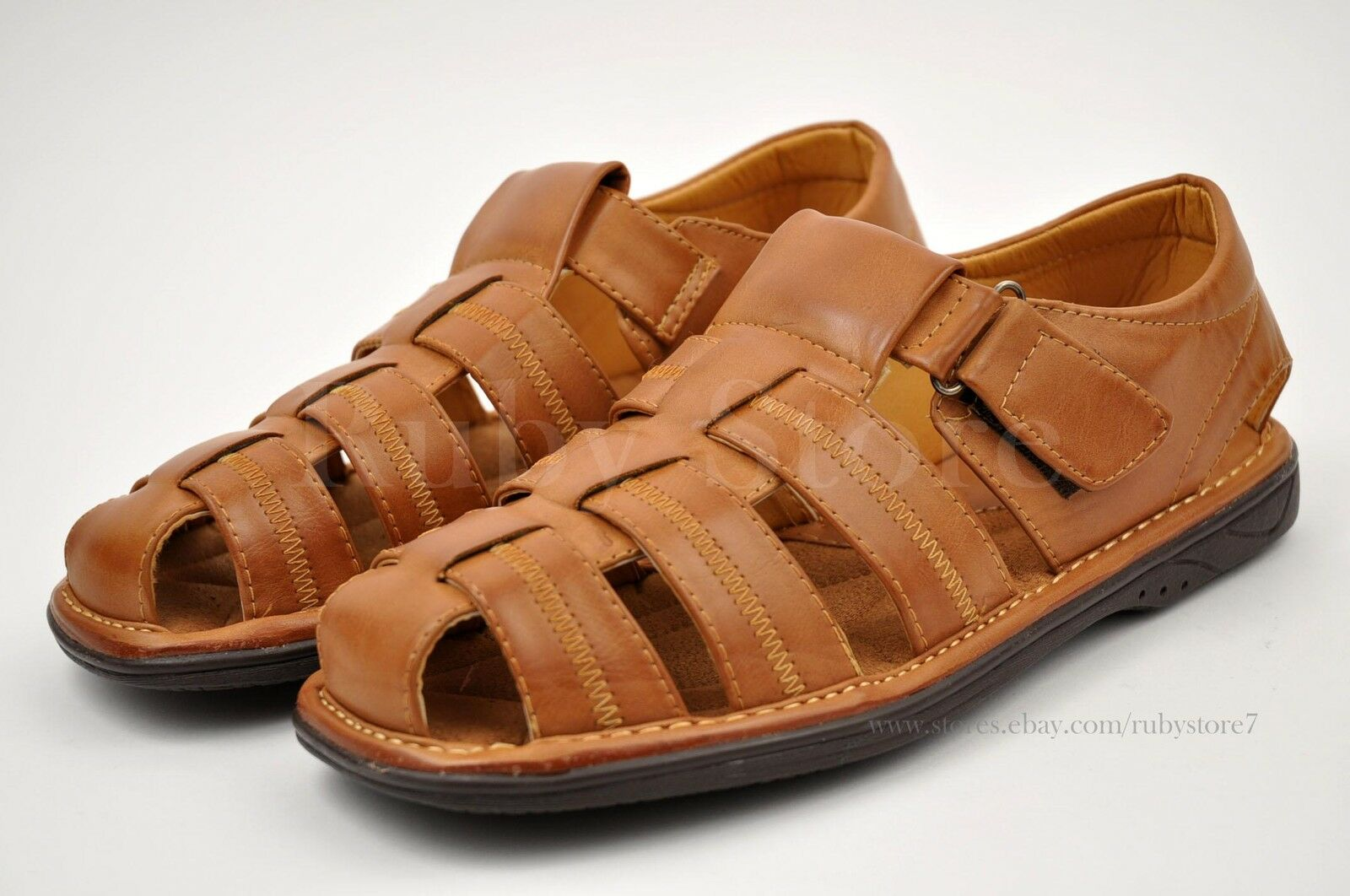 Faranzi men 39 s cognac sandals slippers shoes fisherman for Mens fishing sandals